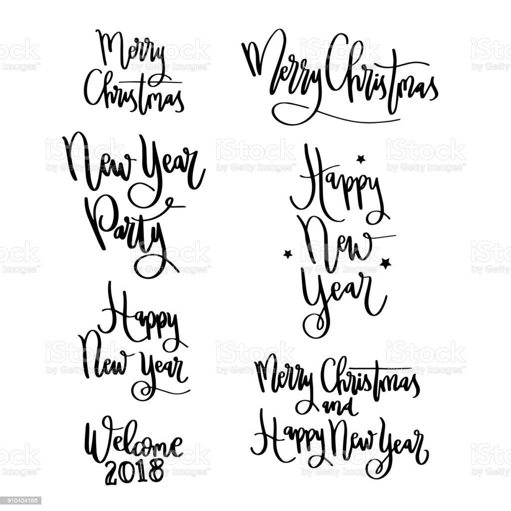 Wörter Schriftzug Frohe Weihnachten Gruß Stock Vektor Art und mehr ...