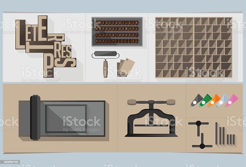 Letterpress Graphic Elements vector art illustration
