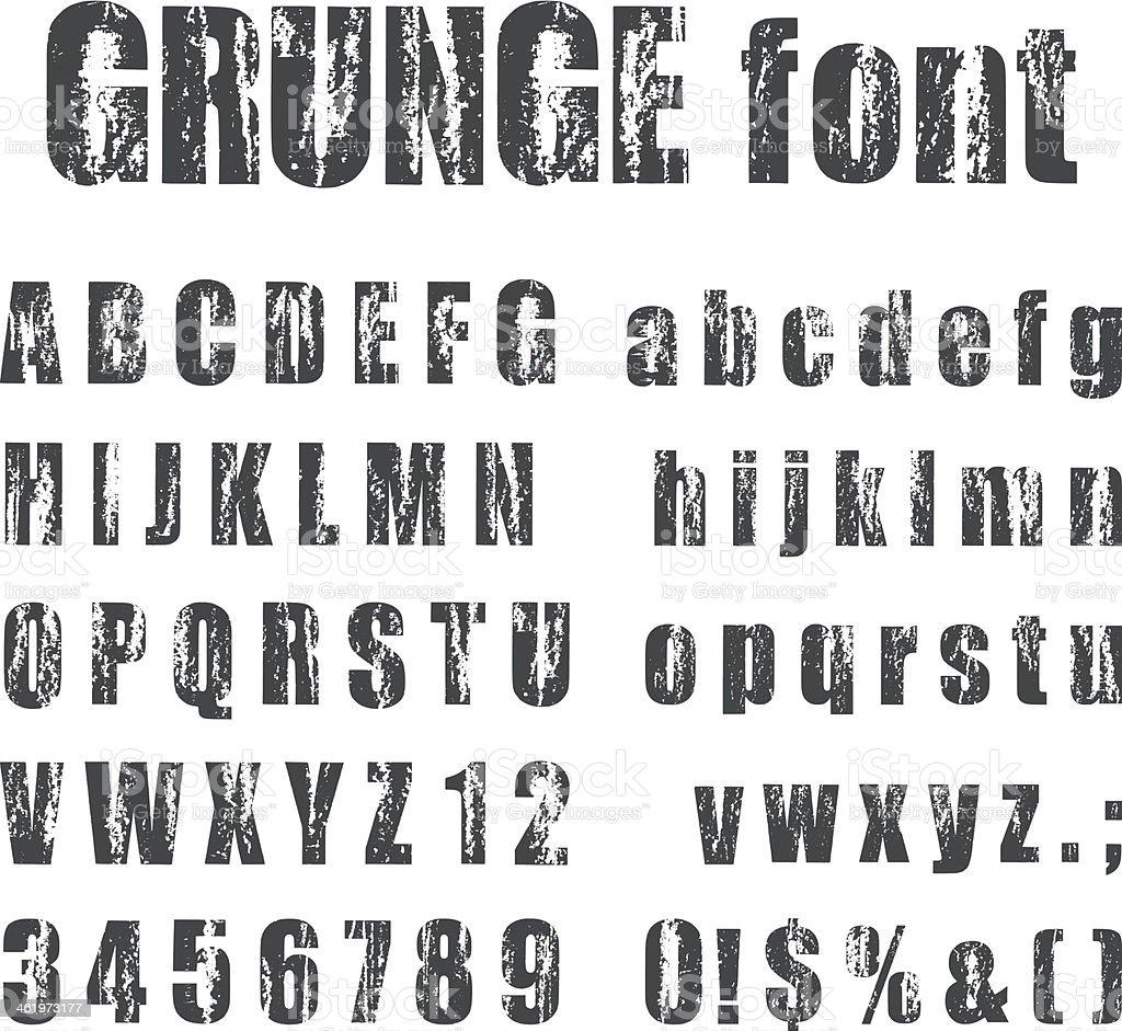 Letterpress grunge alphabets vector art illustration