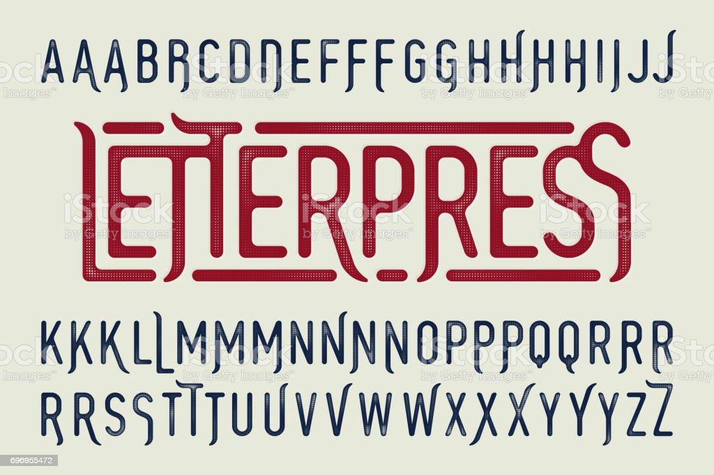 Fonte vintage de la style typographique d'impression - Illustration vectorielle
