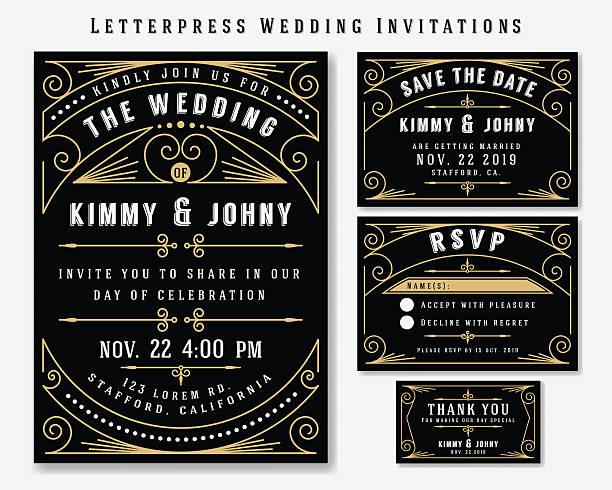 Letterpress Wedding Invitation Design Templat vector art illustration