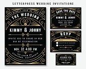 Letterpress Wedding Invitation Design Templat
