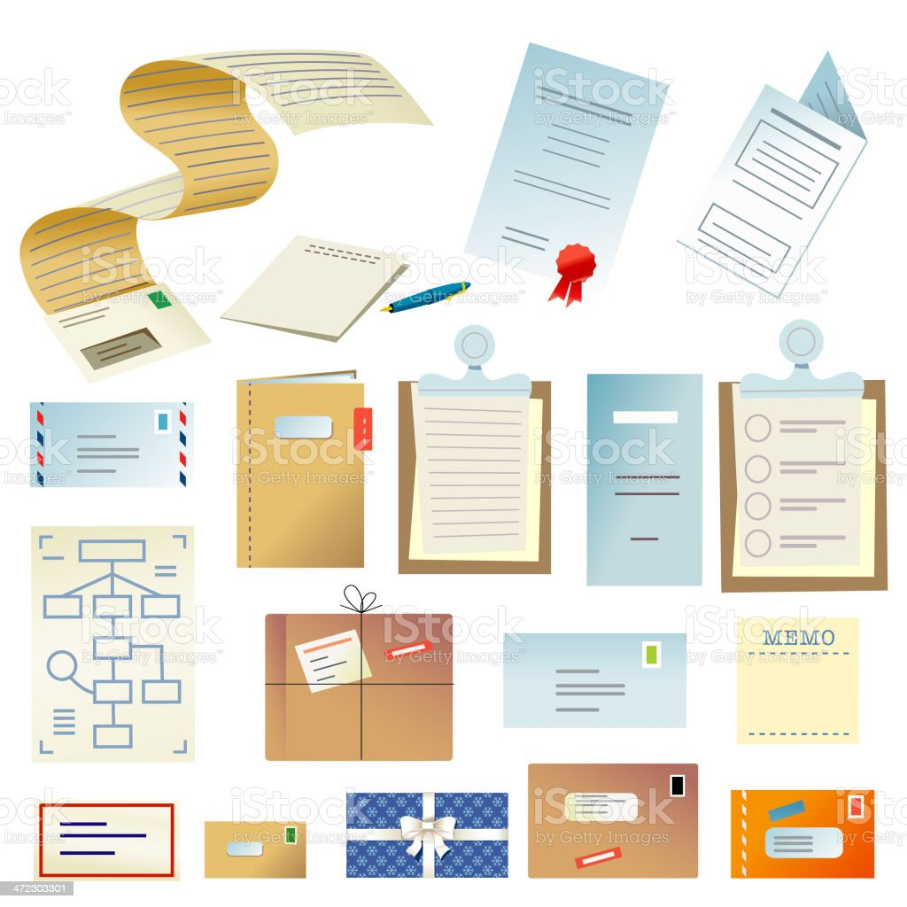 Letters and documents royalty-free stock vector art