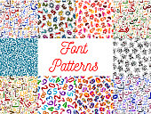 Letters and numbers seamless patterns set