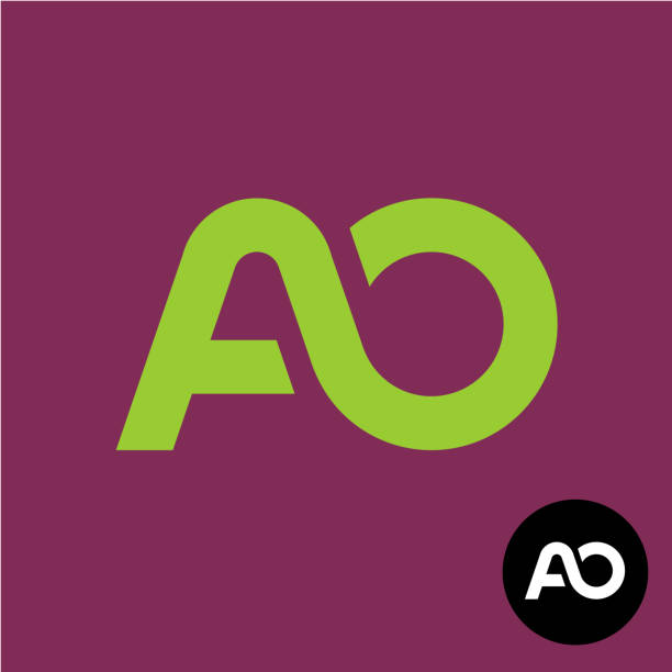 Letters AO monogram. A and O symbol. vector art illustration