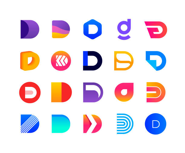 Letters D - logo set Set of design elements. D logo templates. alphabet icons stock illustrations