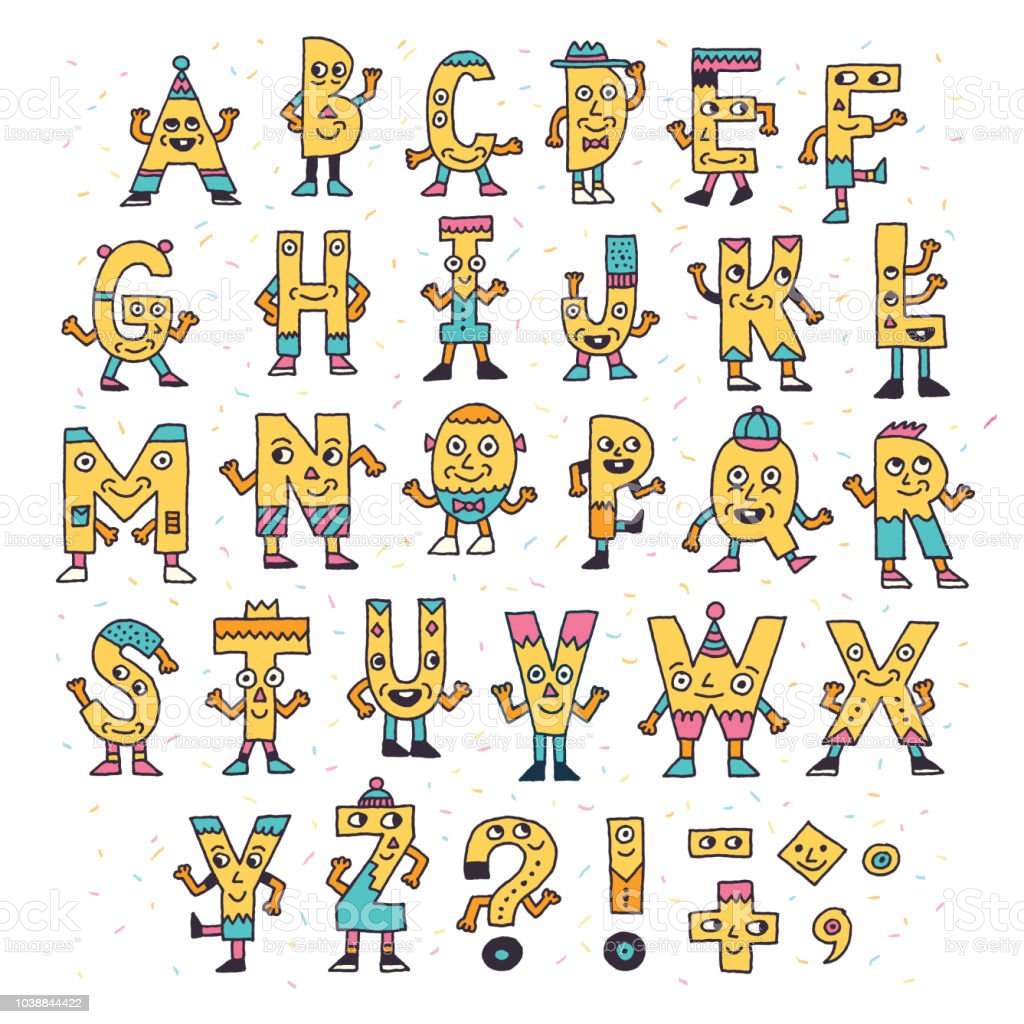 Abc Letters Doodle Characters Color Drawing Vector