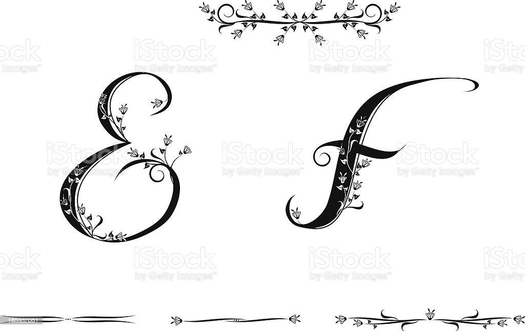 Letters E And F Stockvectorkunst en meer beelden van Alfabet