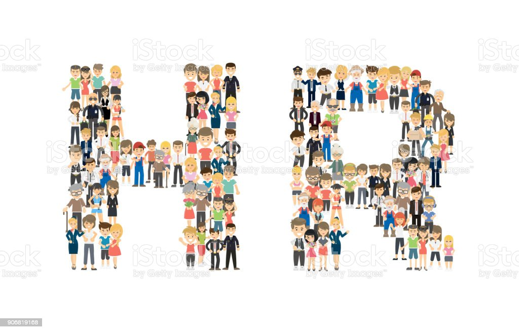 HR letters from people's crowd. vector art illustration
