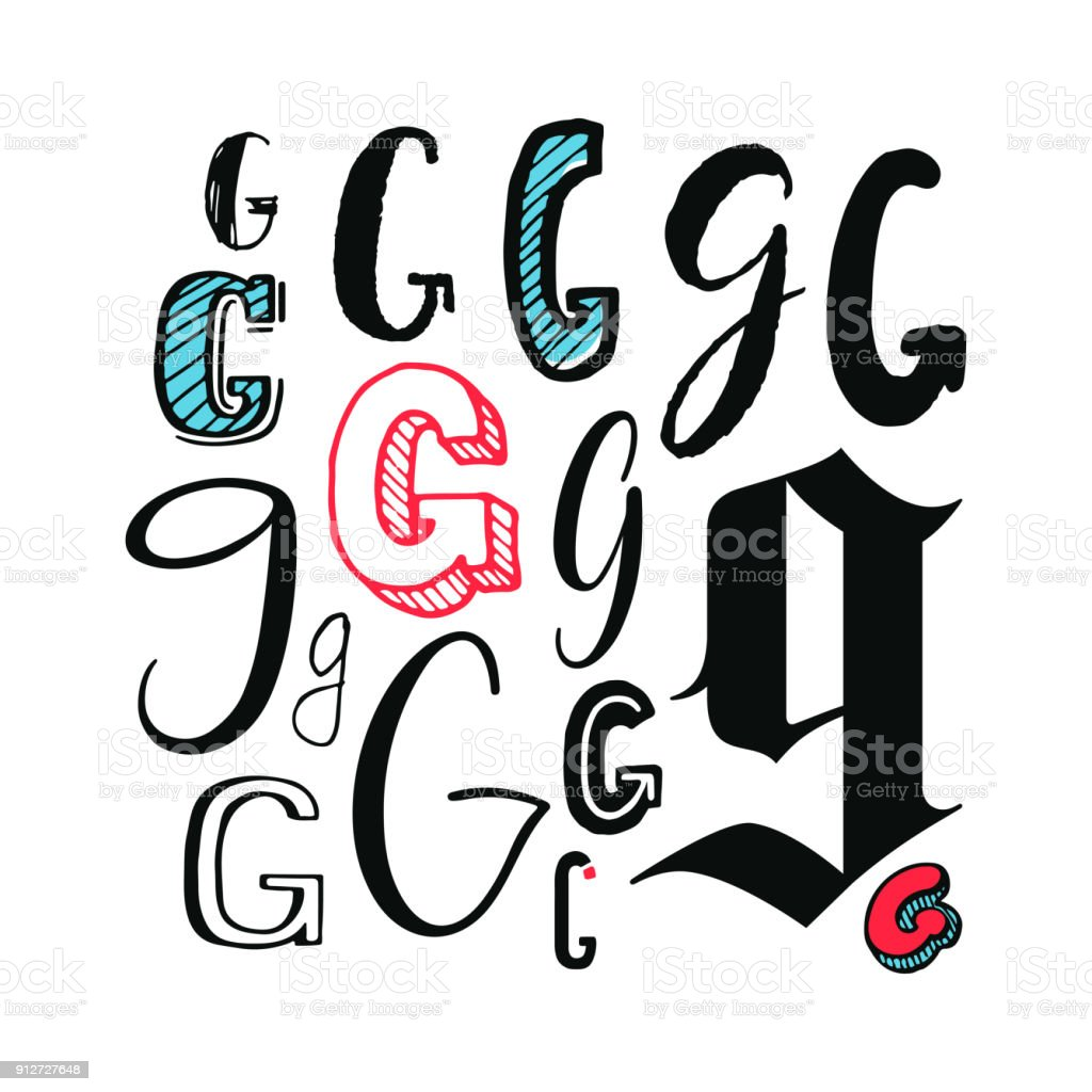 Letters G Set vector art illustration