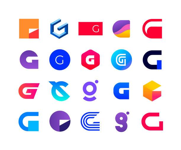 Letters G Logo set of letter G. Letter G logo vector set. alphabet icons stock illustrations
