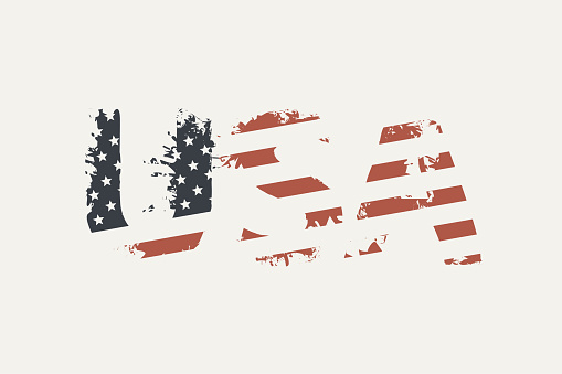 USA letters in colors of US flag in grunge style