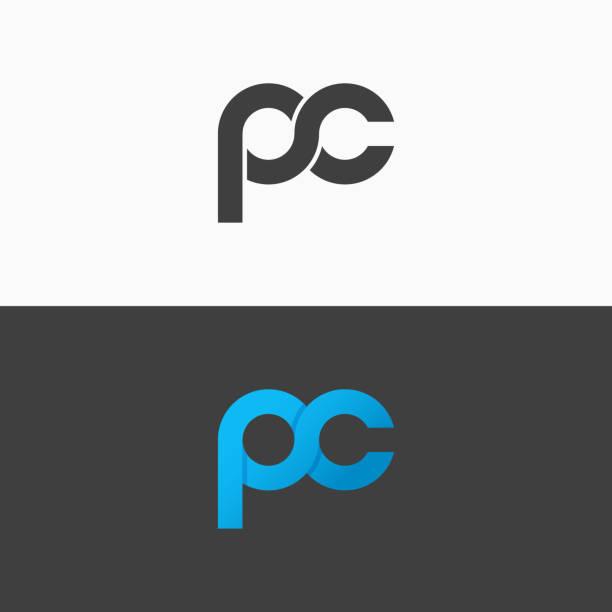 stockillustraties, clipart, cartoons en iconen met pc brieven label. letter p en c letterpictogram instellen vector achtergrond - letter p