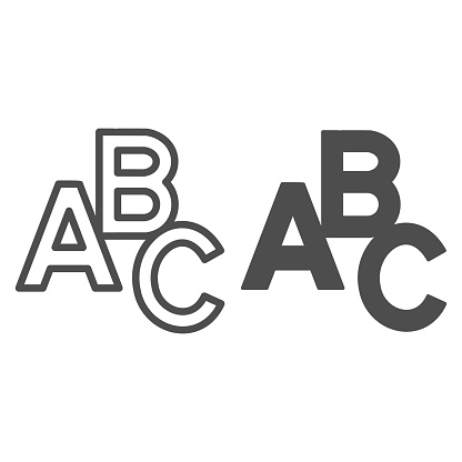 ABC letters line and solid icon, Back to school concept, first letters of alphabet sign on white background, alphabet letter icon in outline style for mobile concept and web design. Vector graphics.