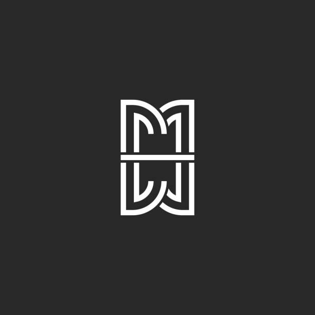 illustrations, cliparts, dessins animés et icônes de lettres mm logo initiales monogram, marque de reflet miroir de style minimaliste m et maquette de symbole m combinaison, élément de conception hipster typographie noir et blanc - abstract mirror