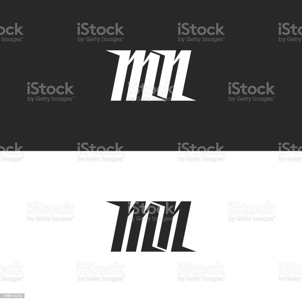 letters mn two letters monogram m and n initials modern emblem for business or wedding