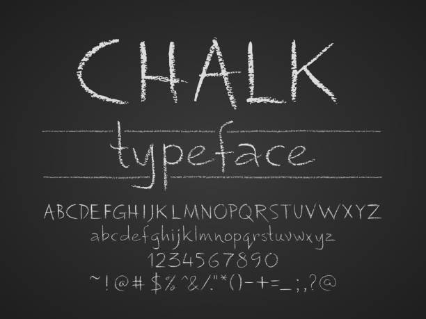 letters, numbers and symbols hand drawn on chalkboard - tafelkreide stock-grafiken, -clipart, -cartoons und -symbole