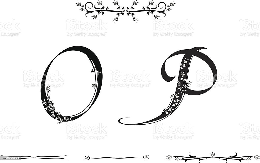Letters O and P royalty-free stock vector art
