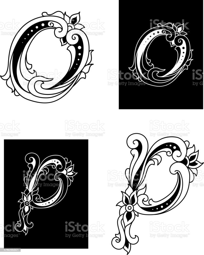 Letters O and P with floral embellishments royalty-free stock vector art