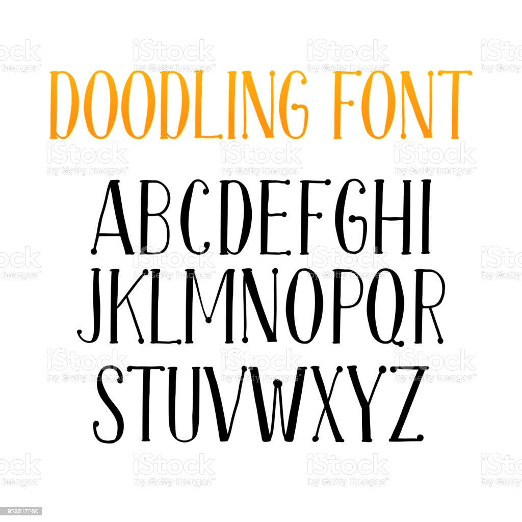 Letters Of English Alphabet For Doodle Font Or Type Royalty Free