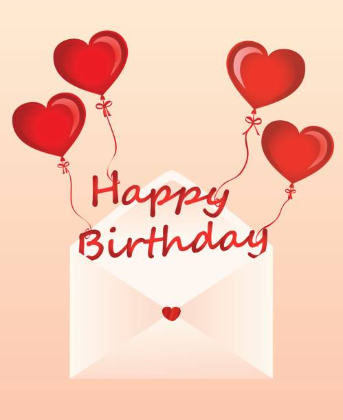 letters of happy birthday on the balls in the form of a heart fly out of the envelope greeting card or invitation for a holiday vector copy space for text
