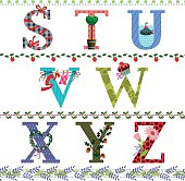 Letters of the alphabet with your favorite objects. Horizontal seamless patterns with hand drawn elements. Eps 8, RGB.