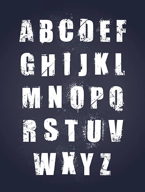 26 letters of the alphabet in a grunge style - graffiti fonts stock illustrations, clip art, cartoons, & icons
