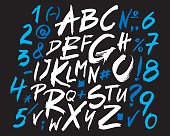 Letters of the alphabet written with a brush. Vector alphabet.