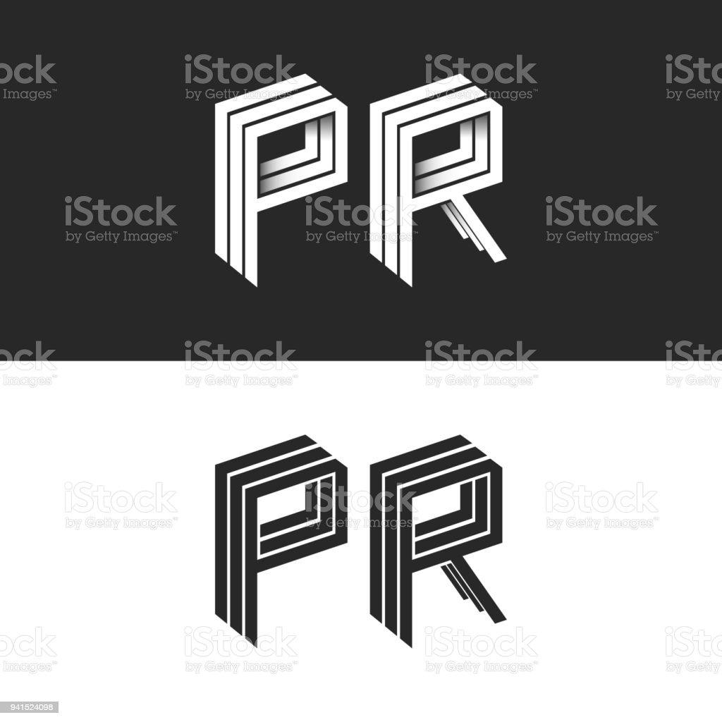 Letters P And R Logo Set Isometric Emblem Symbol Mockup Letters