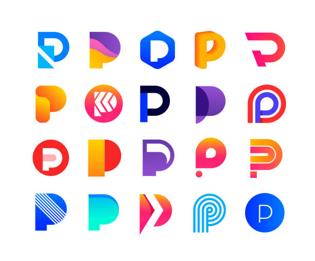 Letters P - logo set 20 signs alphabet icons stock illustrations