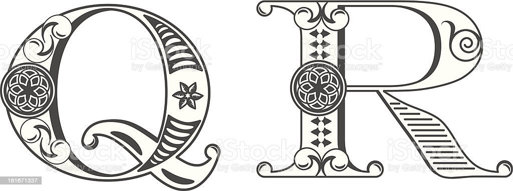 Letters Q and R royalty-free letters q and r stock vector art & more images of alphabet