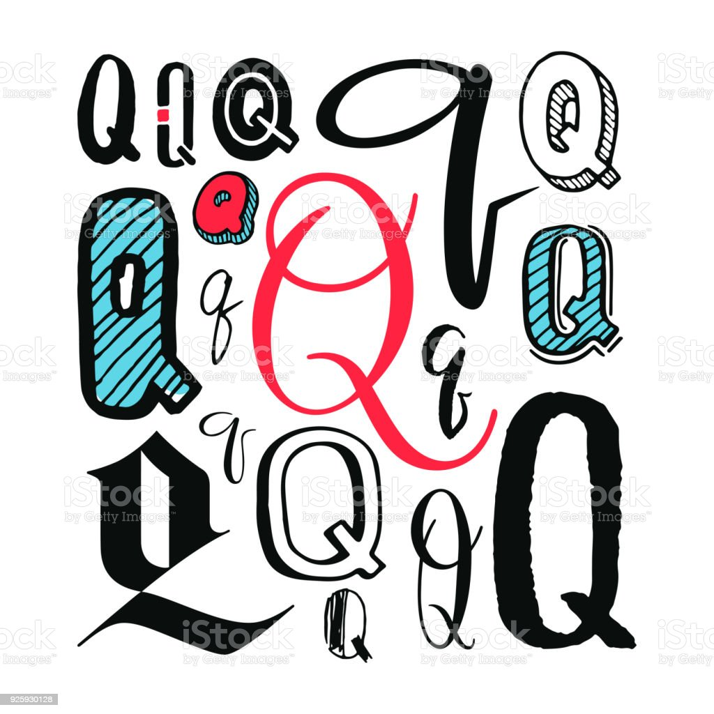 Letters Q Set Different Styles Hand Drawn Illustration Royalty Free