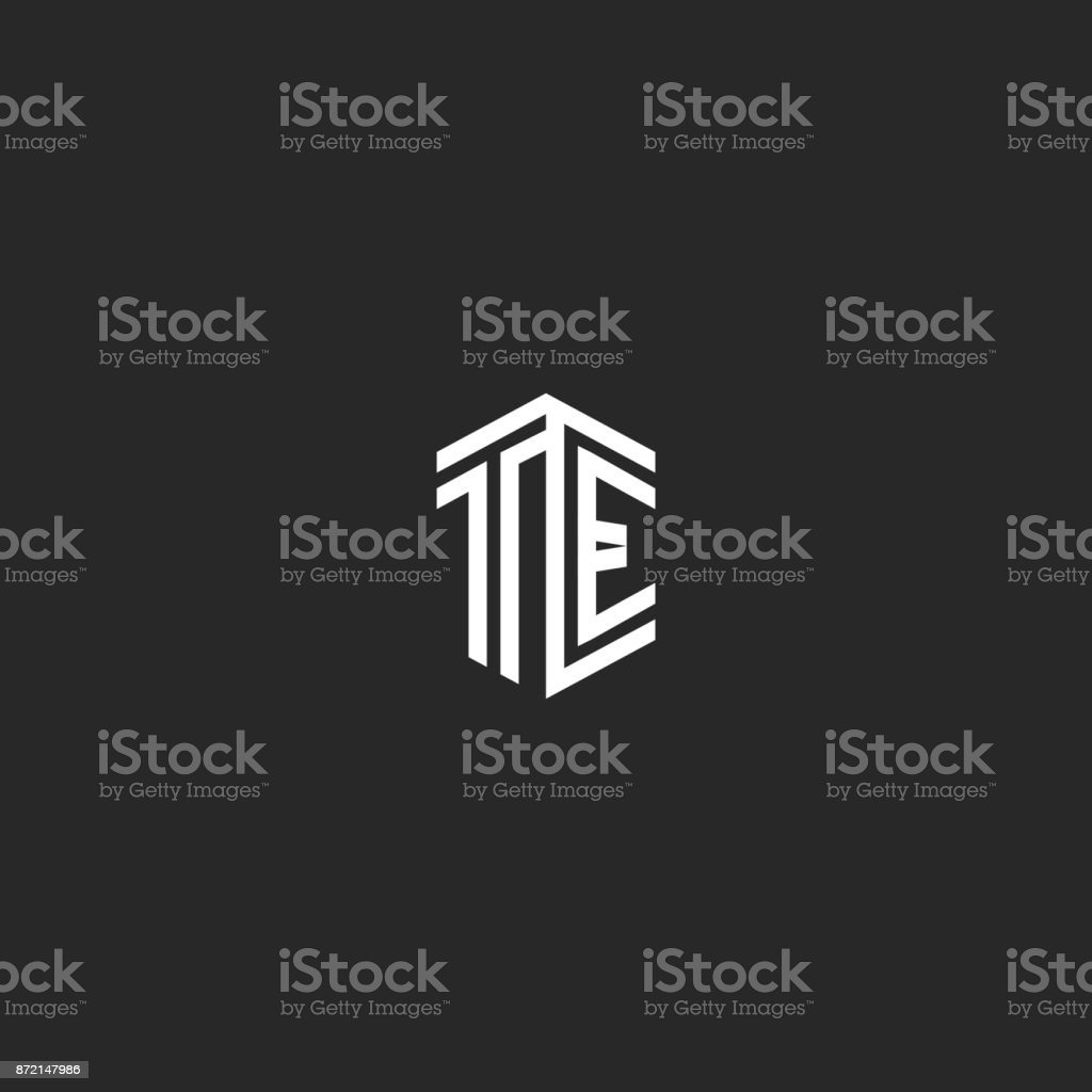 letters te icon monogram template two lines outline style isometric