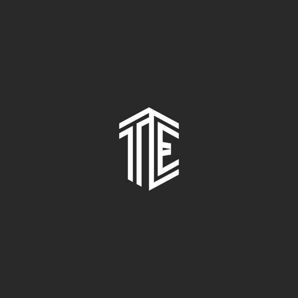 Letters TE icon monogram template two lines outline style. isometric shape hipster initials ET, combination T and E marks for wedding invitation Letters TE icon monogram template two lines outline style. isometric shape hipster initials ET, combination T and E marks for wedding invitation letter t stock illustrations