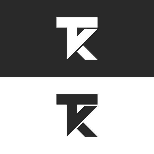 Letters TK icon monogram, combination two letters T and K initials, minimal style KT identity mark emblem black and white design Letters TK icon monogram, combination two letters T and K initials, minimal style KT identity mark emblem black and white design k logo illustrations stock illustrations