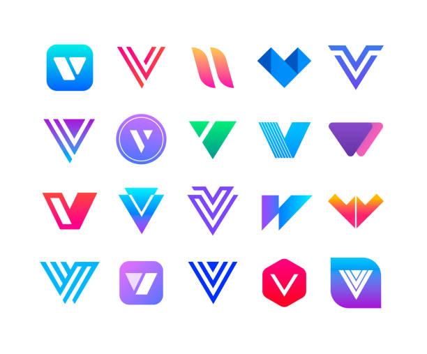 文字 v - のロゴを設定します。 - 大文字点のイラスト素材/クリップアート素材/マンガ素材/アイコン素材