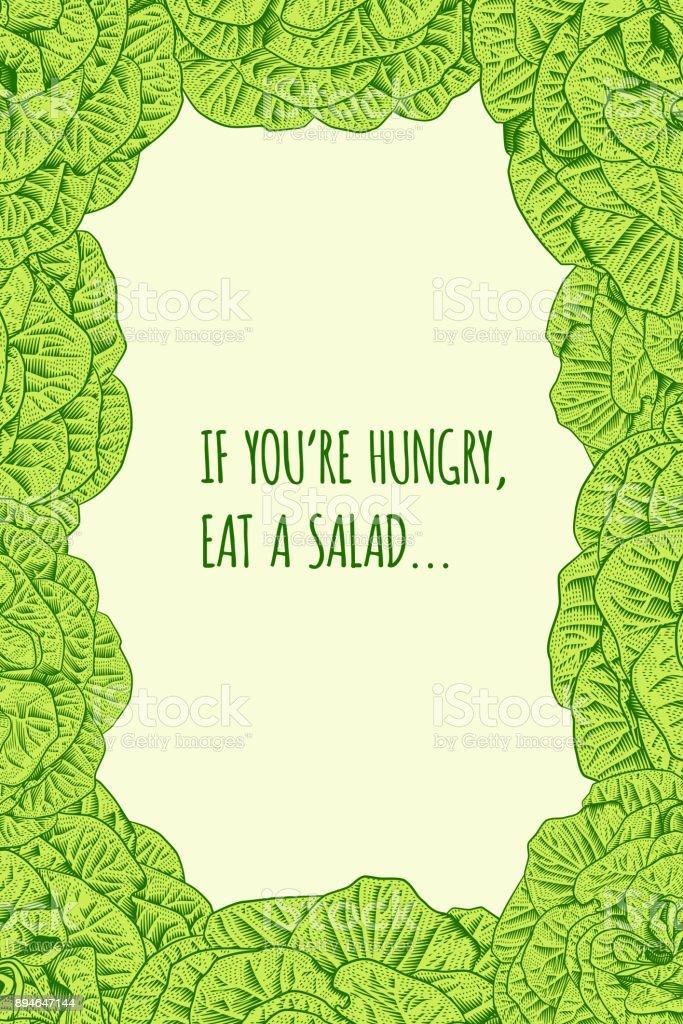 Salat Salat Blumenrahmen Mit Diatmotivation Stock Vektor Art Und