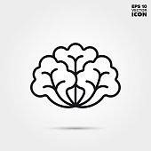 istock Lettuce vegetable vector line icon 1073185502