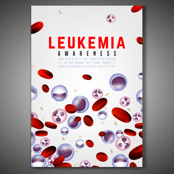 Leukemia Vertical Background Leukemia vertical poster. White and red blood cells  in bright colors. Leukaemia disease awareness. Editable isolated vector illustration. Medical, scientific and healthcare concept. red blood cell stock illustrations