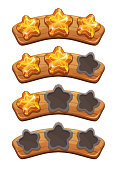 Level complete ranking banners with crystal stars on the wooden board.