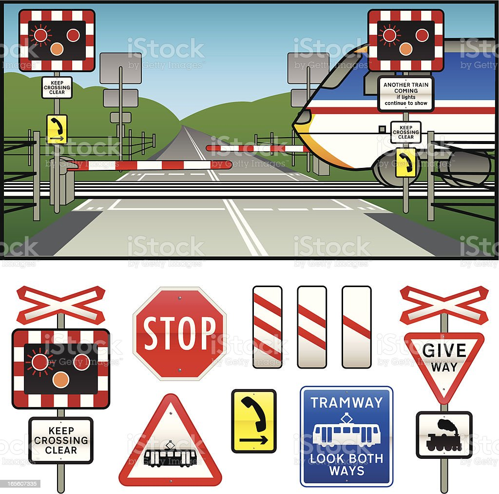 Level Crossing warning Signs Collection royalty-free stock vector art