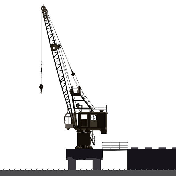 Level luffing crane silhouette Level luffing crane silhouette hooikoorts stock illustrations