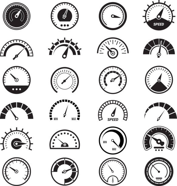 illustrazioni stock, clip art, cartoni animati e icone di tendenza di level measure infographic. speedometer sign fuel limit speed indicator vector black signs - pieno