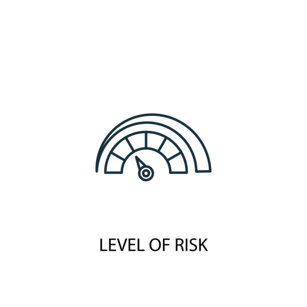 Level of Risk concept line icon. Simple element illustration. Level of Risk concept outline symbol design. Can be used for web and mobile UI/UX Level of Risk concept line icon. Simple element illustration. Level of Risk concept outline symbol design. Can be used for web and mobile UI/UX low stock illustrations