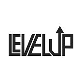 Level up game phrase concept template for t-shirt outline style