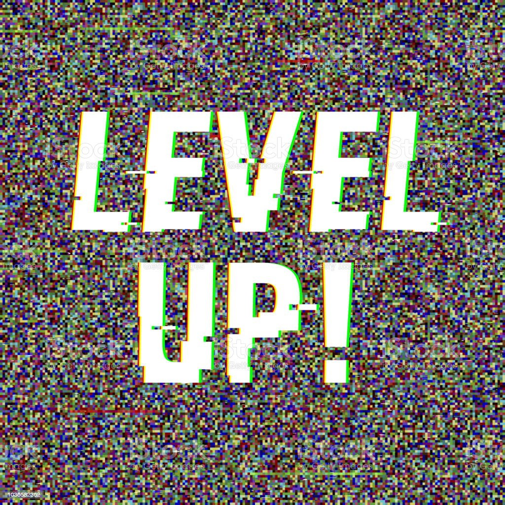 Level Up glitch text. Anaglyph 3D effect. Technological retro...
