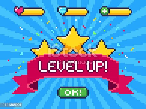 Level Up screen. Pixel video game achievement, pixels 8 bit games ui and gaming level progress. Arcade games achievements or pixelation gaming trophy vector illustration