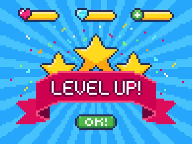 Level Up screen. Pixel video game achievement, pixels 8 bit games ui and gaming level progress vector illustration Level Up screen. Pixel video game achievement, pixels 8 bit games ui and gaming level progress. Arcade games achievements or pixelation gaming trophy vector illustration leisure games stock illustrations