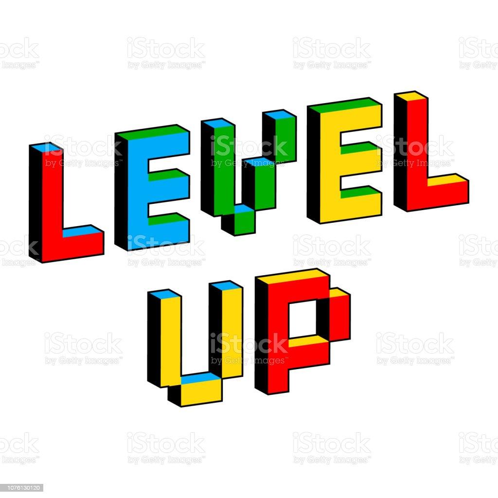 昔の 8 ビット ビデオ ゲームのスタイルのレベルをテキスト。活気に満ちたカラフルな 3 D のピクセルの文字。創造的なデジタル ベクトル ポスター、チラシ テンプレート。レトロなアーケー ベクターアートイラスト