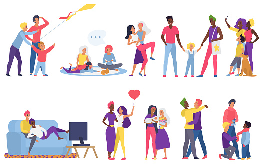 Lgbt couple people vector illustration flat set, cartoon happy man woman lover characters hug, gay lesbian parents take care of adopted children